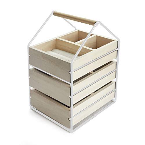 Balvi Sieradenstandaard House wit kleur Jeweler met drie houten kisten handvat hout/metaal