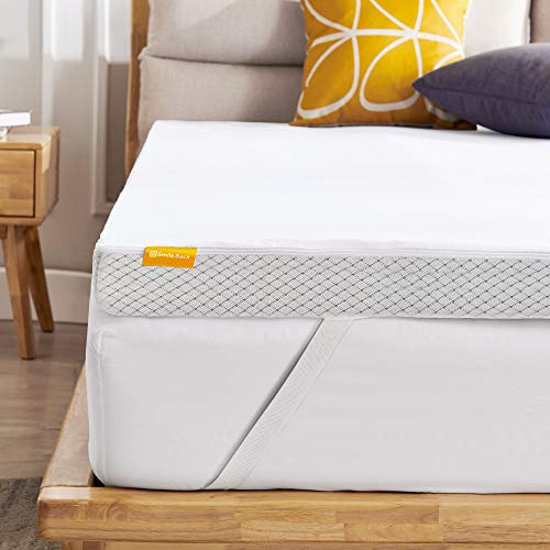 Smile Back 3 Inch Firm Mattress Topper Queen, Egg Crate Mattress Topper for Pressure Relief, Cooling Graphite Mattress Topper with Washable Cover, CertiPUR-US (Queen Size)