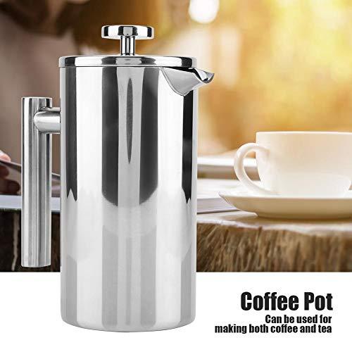 Junluck Doppelwandiger, haltbarer französischer Pressmacher, verbrühungsfreie Kaffeekanne, Silberne Isolierung für das Café für zu Hause(1000ML)