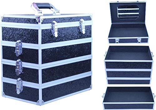 Cosmeticakoffer/make-up koffer/nagelstylist/sieradenkoffer - 4 afsluitbare vakken- 35 x 22 x 32 cm - zwart/aluminium