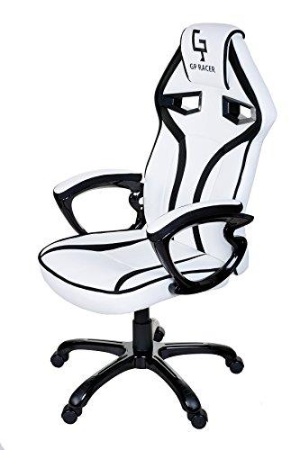 Giosedio GPR Racing Silla para ordenador , altura ajustable, cuero sintético, malla transpirable. Silla de Escritorio para Gamers. (blanco/negro)