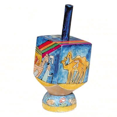 Noah's Ark and Rainbow Hand Painted Small Wooden Dreidel and matching Stand by Yair Emanuel