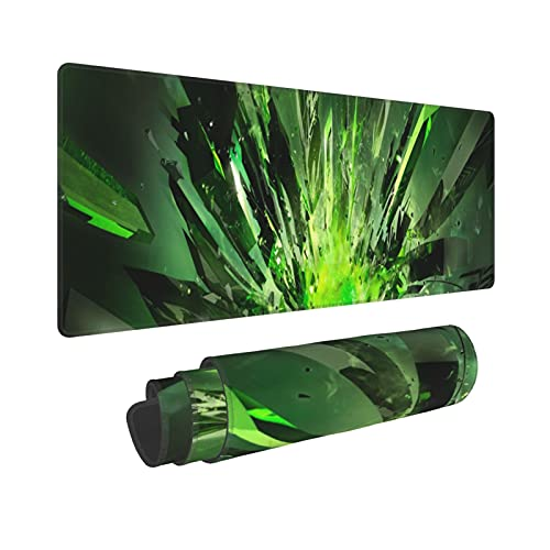 CVROY XXL Gaming Mouse Pad Irregular Green Crystal Pattern Easy Clean Large Table Protector Office Desk Mat Explosion Rays
