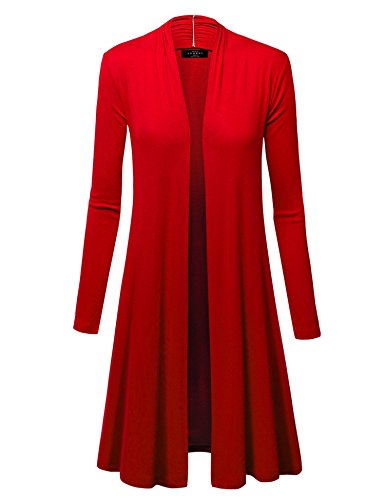 WSK1048 Womens Solid Long Sleeve Open Front Long Cardigan S RED
