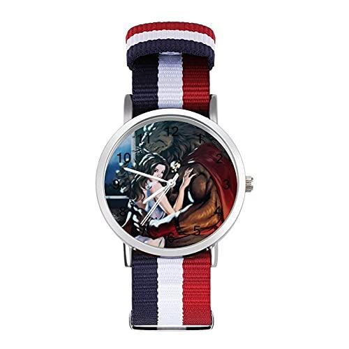 Movie Beauty Beast - Reloj de pulsera con espejo de cristal, estilo informal, adecuado para oficina, escuela, hombres y mujeres