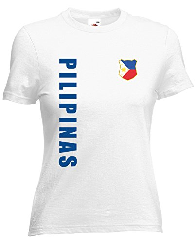 Philippinen Pilipinas Damen T-Shirt Trikot Wunschname Wunschnummer (Weiß, M)