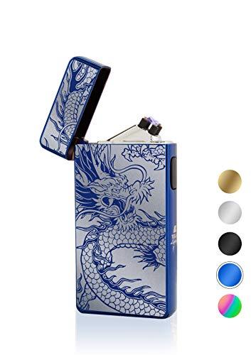 TESLA Lighter TESLA Lighter T13 Lichtbogen Feuerzeug, Plasma Double-Arc, elektronisch wiederaufladbar, aufladbar mit Strom per USB, ohne Gas und Benzin, mit Ladekabel, in edler Geschenkverpackung, Blau Drache Blau