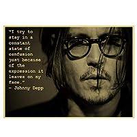 パイレーツオブカリビアンキャプテンジャックスパロウ俳優ジョニーデップポスターホーム装飾絵画壁アートキャンバスに印刷50x70cmフレームレス