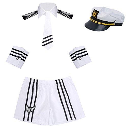 iiniim Disfraz Marinero Hombre Sombrero de Capitán Policía Sexy Ropa Interior Adulto Conjunto de Lencería Pijama Traje de Cosplay Club Nocturno Clubwear Blanco One_Size