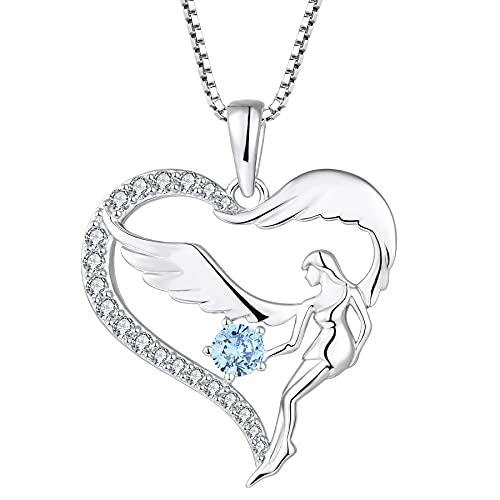 FJ Collar con colgante de ángel de la guarda con forma de corazón, plata de ley 925 con circonita cúbica, regalo para...