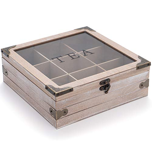 Wooden Tea Box Organizer Wood Tea Storage Box Chest Rustic Tea Bag Holder Rack Storage Container Tea Caddy for Coffee Tea Sugar Sweeteners Creamers Drink Pods Packets (Gray)