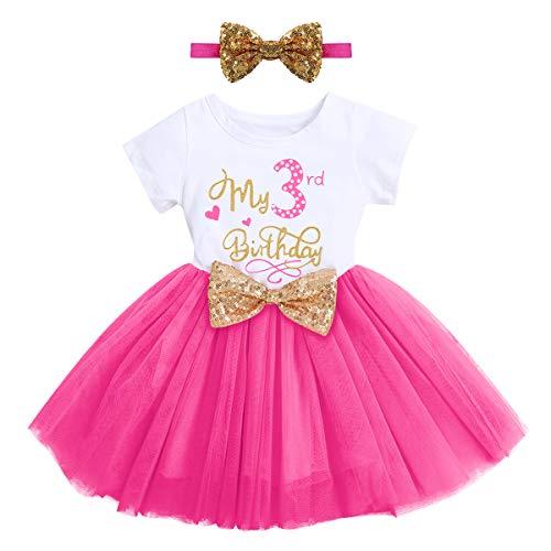 FYMNSI Vestito in tulle con paillettes e fascia per capelli, 2 pezzi, Rose – Il mio 3° compleanno, 3 Anni