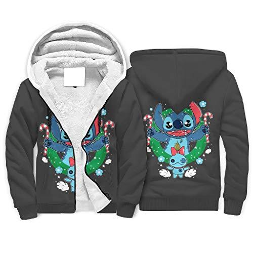 Unisex Herren Damen Sherpa Innenfutter Kapuzenpullover Jacke Sweatshirts Stitch...