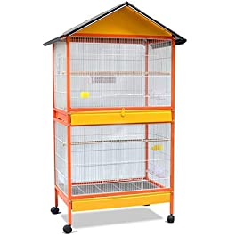 Birdhouses Bird Cage,Metal Pet Bird Cage, Floor Large Bird Cage Easy to Clean Double Floor Type Household Bird Cage