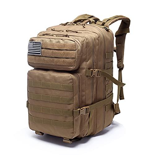 ZHQA Zaino tattico impermeabile, confezione da 40 l, grande confezione militare militare da 3 giorni di assalto, borsa molle con bandiera USA, anelli a D, kaki