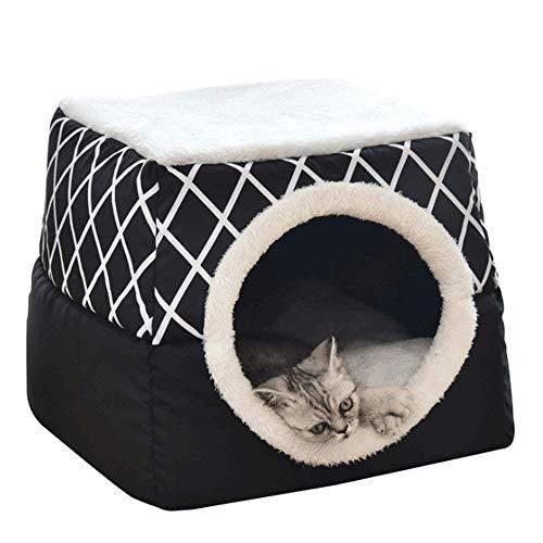 Accesorios para mascotas camas 2 en 1 Cama de gato plegable, sofá for mascotas caliente, cama for mascotas con cojín extraíble, lavable a máquina, adecuado for la mayoría de los gatos y perros, gris,