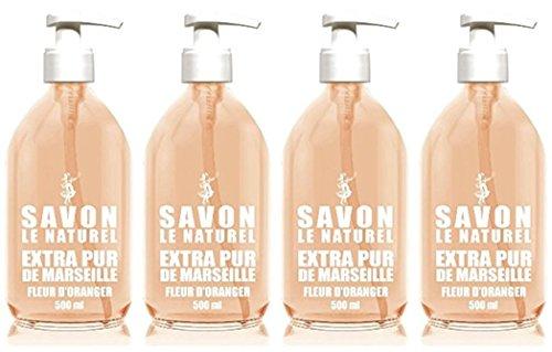 Savon Le Naturel - Extra Pur de Marseille à la Fleur d'Oranger - 500 ml - Lot de 4