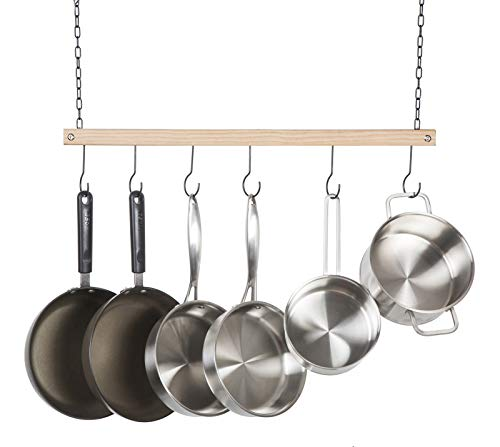 Soduku Pot and Pan Rack Organizer Ceiling Mounted Single Wooden Cookware Hanger with 6 Hooks for Pot Pans Utensils