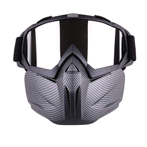Y-SPACE Goggles with Removable Face Mask, Detachable Motorcycle Goggle Mask for Airsoft/CS/Cycling/Halloween/Costume, Carbon Fiber
