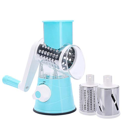 Onseen Rotary Cheese Grater Handheld Fruit Slicer Vegetable Shredder Cheese Cutter Nuts Grinder for Kitchen with 3 Sharp Cylinders Stainless Steel Blades, Blue