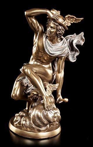 Hermes Figur der Götterbote |Deko Statue Veronese Bronze-Optik griechischer Gott
