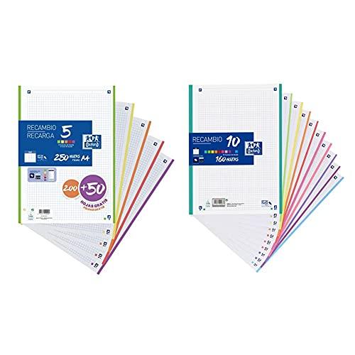 Oxford Hojas cuadriculadas a4 recambio 400150903. 200 + 40 hojas gratis + Hojas cuadriculadas A4 Recambio , School, 10 Banda colores, 160 Hojas, Cuadrícula 5x5, Multicolor