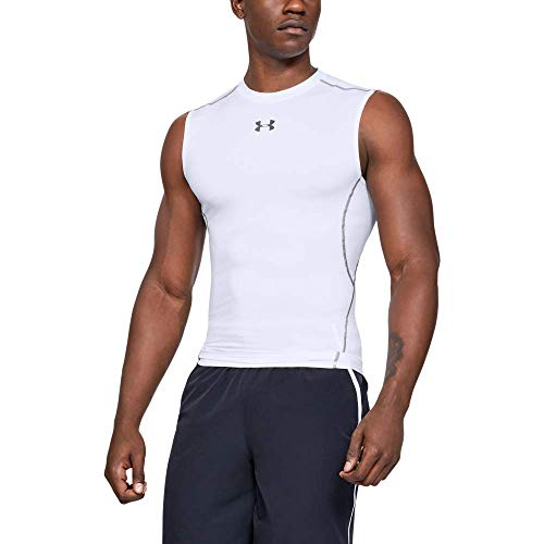 Under Armour UA HeatGear Armour Sleeveless, Canotta Uomo, Bianco (White/Graphite 100), S