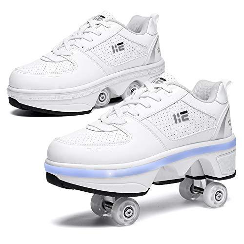 GGOODD Zapatos LED con Ruedas, Zapatos de Skate, 2 en 1, Zapatos Multiusos, 4 Rondas Retráctiles, Patines en Línea, Zapatillas Deportivas al Aire Libre, Unisex,40