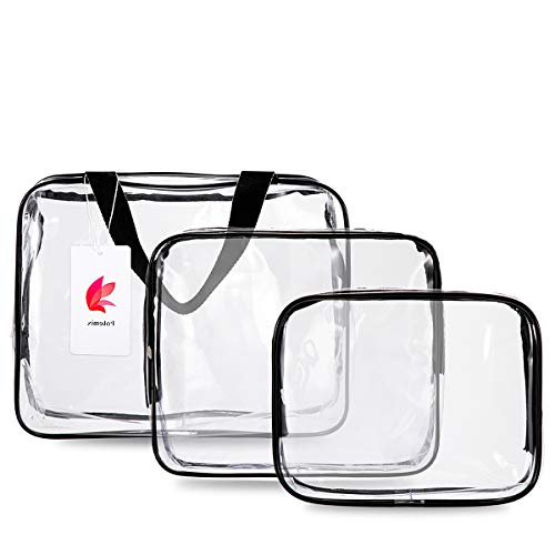 Toiletry Bags 3 in 1 Gift Makeup Bags & Cases Plastic Bag Clear PVC Travel Bag Brushes Organizer for Men and Women Travel Business Bathroom