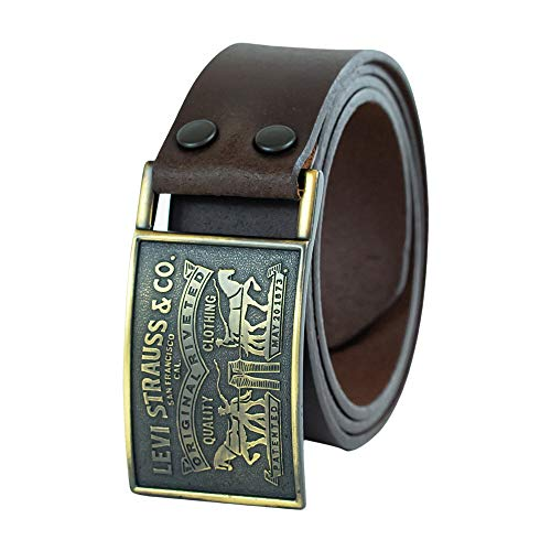 Levi's Men's 1 1/2 in.Plaque Bridle Belt With Snap Closure,Brown,38