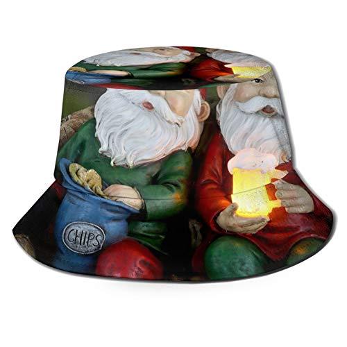 LEIJGS Cute Garden Gnome Model Bucket Sun Hat for Men & Women -Uv Protection Camping Summer Hatflexible Durable for Teenager