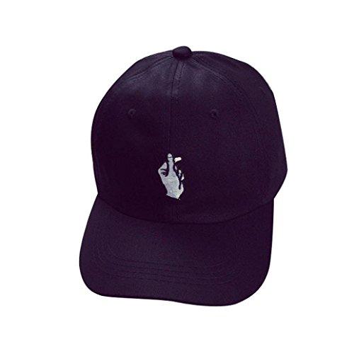 Amlaiworld Mode Mützen Caps Einstellbarer Hiphop Finger Sun Baseballkappen (schwarz)