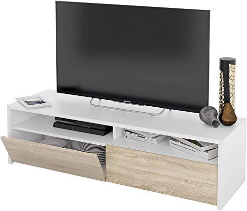 Arreditaly Mobile Mobiletto TV Copenaghen da Soggiorno Sala da Pranzo Studio Moderno Design 130 x 40.2 x 35.5 cm Bianco e Rovere
