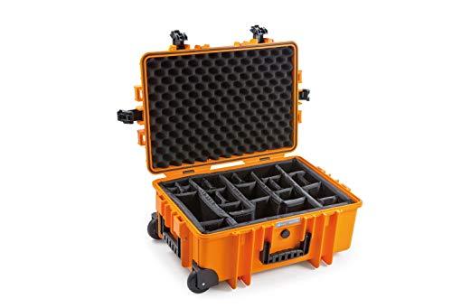 B&W Outdoor Case Hartschalenkoffer Typ 6700 mit Facheinteilung, anpassbar (Hardcase Koffer IP67, wasserdicht, Innenmaß 53,5x36x22,5cm, Orange)