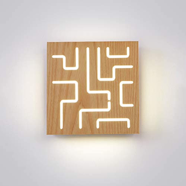 HoaLit Nightlight Holz Quadratische Led Wandleuchte, 16w Nordisch Wandlicht Dekoration Warmwei Acryl Wandlampe Schlafzimmer Flur Wohnzimmer Innen-c 24x24x8.5cm