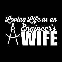 車のステッカーの装飾 15.9CM X 9CM愛する生命としてアン・エンジニアの妻ビニールステッカーコンパスキャリパーエンジニアリング車のステッカーブラック/シルバー 車のステッカーの装飾 (Color Name : Silver)