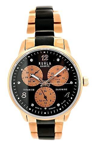 Uhren Manufaktur Ruhla Damenuhr Multifunktion Quarzwerk mit Titanarmband 28141