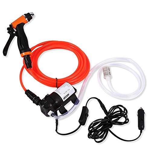 Nikou Elektrische Waschpumpe - 12 V Autowaschanlage Pimp Tragbare selbstansaugende Hochdruck-Schnellreinigungswasserpumpe Elektrisches Waschanlagen-Kit