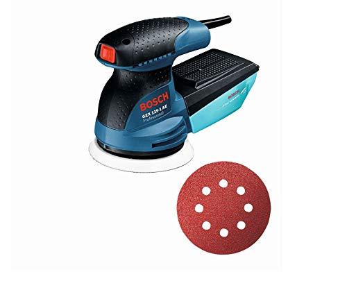 Bosch Professional Exzenterschleifer GEX 125-1 AE (125 mm Schleifteller, 250 Watt, inkl. Microfilter Box, 3 Schleifblatt C470 für Holz, im Handwerkerkoffer)
