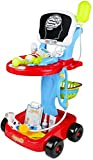 Fajiabao Doctor Cart for Toddlers Medical Kit Pretend Playset Doctors Set Double-Decker Trolley with Stethoscope Syringe Accessories Birthday Gift Role Playing Educational Indoor Games for Kids 3 4 5