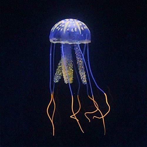 Xiangze Decoración para Acuario, Medusas Artificiales Fluorescentes de Silicona, Tanque de Peces, 1 Unidad