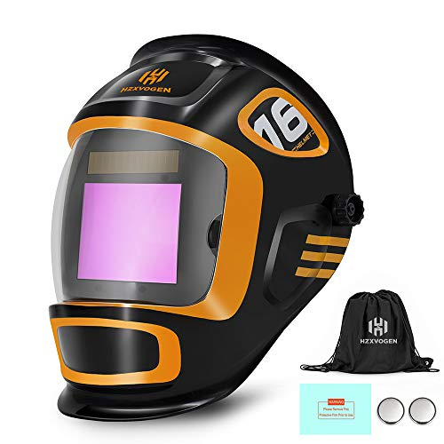 New! HZXVOGEN Welding Helmet Large Viewing Screen True Color Solar Powered Auto Darkening with LCD Setting Display 4 Arc Sensors Shade 5/9-9/13 for TIG MIG Arc and Grinding (Model: LY900A)