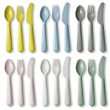 Set of 6 Plastic Dinnerware, Muulaii 6 Kids Forks 6 Kids Knife and 6 Kids Spoons Dishwasher Safe Toddler Silverware Brightly Colored Kid Plastic Cutlery Set, Great for Kids and Toddlers Utensils