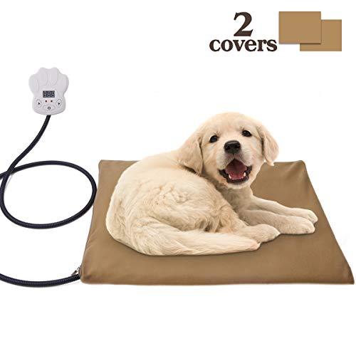 Osaloe Manta de Calefacción Eléctrica para Animales Domésticos, 15W Almohadilla de Calentamiento para Perros y Gatos con 7 Niveles de Temperatura Ajustable, 30 x 40 CM (Caqui)