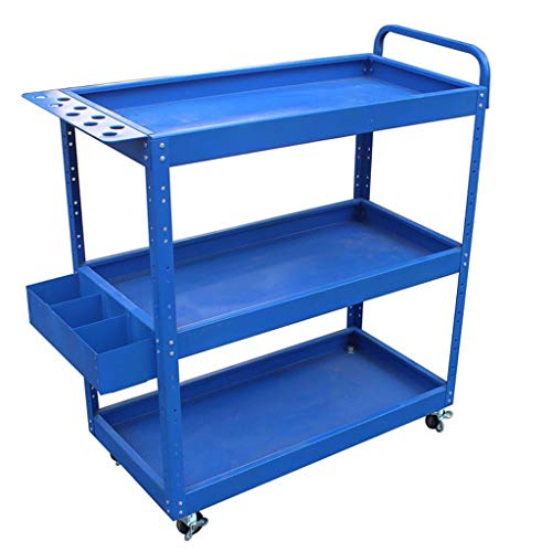 B-K Vier Räder Portable Tool Storage Cart Trolley - Auto-Reparatur-Tool Auto-Reparatur-Tool Cart Auto-Ersatzteile Auto-Multi-Tool-Rack 3 Schichten Utility Cart, Blau, 70 * 35 * 77cm