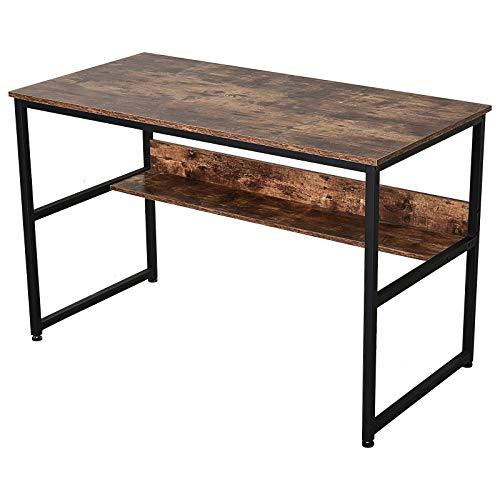 HOMCOM Schreibtisch mit Regal, Computertisch, Bürotisch, Spanplatte, Metall, Braun 120 x 60 x 77 cm