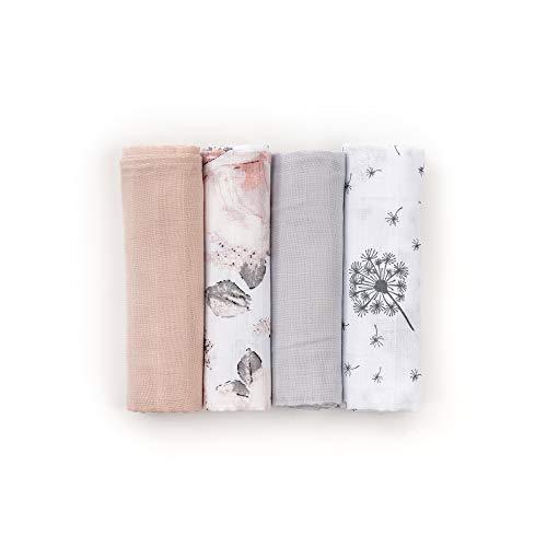 Panni di garza HappyMess Set di 4, panni di cotone, panni per allattamento, panni per neonati, Öko-tex - bianco/nero/fiori(120x120)