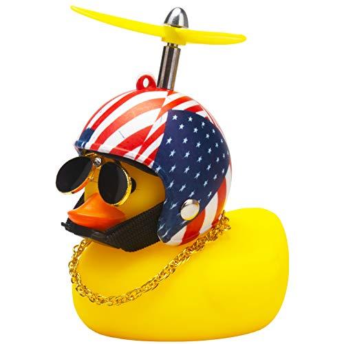 wonuu Rubber Duck Car Decorations Cute Yellow Duck Car Dashboard Ornaments with Propeller Helmet