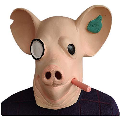 YBBGHH Rosa Schweinekopf Maske Uhr Hund Legion Maske Tier Kapuze Spiel Latex