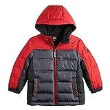ZeroXposur Boys Puffer Jacket, Lightweight Quilted Boys Jacket (Dark Heather Grey/Red, Large 14/16)